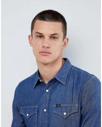 Lee Jeans - Jeans Pindot Button Down Denim Shirt In Deep Indigo - Lyst