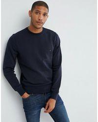 Tommy Hilfiger - Crew Neck Sweatshirt In Navy - Lyst