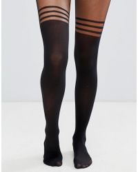 ASOS - Recycled 3 Stripe Over The Knee Tights With Support - Lyst