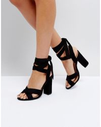 Truffle Collection - Tie Up Block Heeled Sandal - Lyst