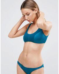 ASOS - Matte Satin Panel Crop Bikini Top - Lyst