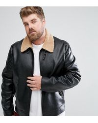 ASOS - Asos Plus Faux Shearling Jacket In Black - Lyst