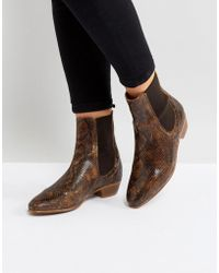 Hudson Jeans - Kenny Tan Snake Ankle Boots - Lyst