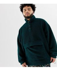 ASOS - Plus Oversized Sweatshirt In Borg With Popper Neck In Green - Lyst