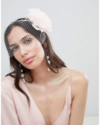 ASOS - Design Statement Floral And Intricate Veil Headband - Lyst