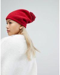 Helene Berman - Spaghetti Pom Pom Hat In Red - Lyst
