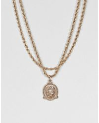 ASOS - Vintage Style Icon Pendant Rope Chain Multirow Necklace - Lyst