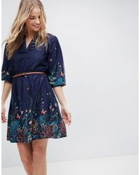 Yumi' - Belted Dress With 3/4 Sleeves In Meadow Border Print - Lyst