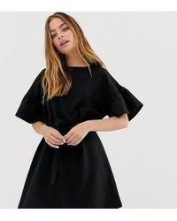 82eba76d6232 ASOS - Asos Design Petite Slub Mini Dress With Frill Sleeve And Belt - Lyst