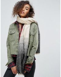 Nali - Oversized Scarf With Gray Embroidery - Lyst