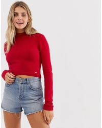 Hollister - High Neck Jumper With Wrap Detail - Lyst
