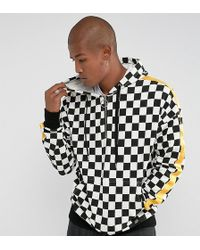 Sixth June - Oversized Hoodie In Checkerboard With Yellow Stripe - Lyst
