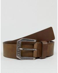 Replay - Brown Leather Belt - Lyst