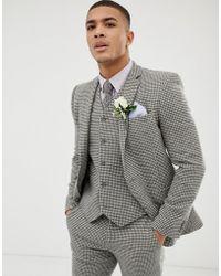 ASOS - Wedding Super Skinny Suit Jacket In Grey Houndstooth - Lyst