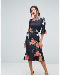 True Violet - Frill Sleeve Floral Print Dress With Pephem - Lyst