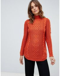 Oasis - Cable Knit Sweater In Red - Lyst