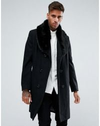 BoohooMAN - Double Breasted Wool Overcoat With Faux Fur Trim In Black - Lyst