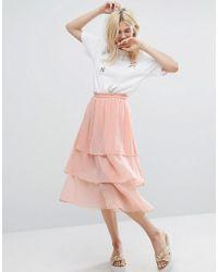 Monki - Ruffle Layered Midi Skirt - Lyst