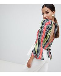 Missguided - Striped Open Back Top - Lyst