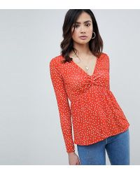 ASOS - Asos Design Tall Spot Plunge V Neck With Pep Hem - Lyst