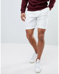 Bershka - Belted Chino Shorts In White - Lyst