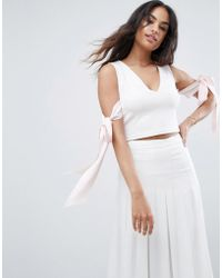 ASOS DESIGN - Asos Top In Scuba With Plunge Neck And Bow Detail - Lyst