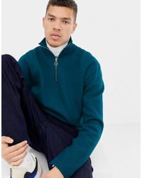 ASOS - Boxy Jumper In Dark Teal Structured Knit With Zip Neck - Lyst 033ffd888