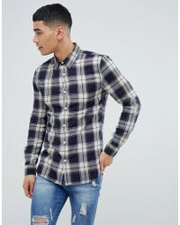 New Look | Muscle Fit Check Shirt In Blue | Lyst
