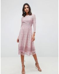 ASOS - Premium Lace Midi Skater Dress - Lyst