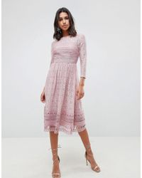 ASOS - Lace Midi Skater Dress - Lyst
