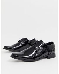 New Look - Patent Lace Up Shoe In Black - Lyst
