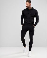 ASOS - Tracksuit Muscle Hoodie/extreme Super Skinny joggers In Black - Lyst