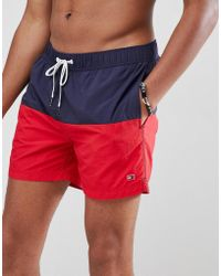 Tommy Hilfiger - Colourblock Swimshorts With Flag Logo In Navy/red - Lyst
