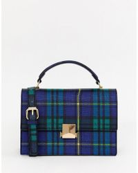Miss Selfridge - Structured Crossbody Bag In Blue Plaid Check - Lyst