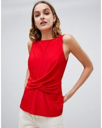 Warehouse - Sleeveless Blouse With Drape Waist Detail In Red - Lyst
