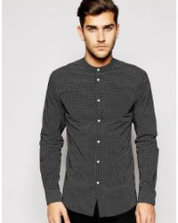 Jack & Jones - Grandad Shirt With Polka Dot In Slim Fit - Lyst