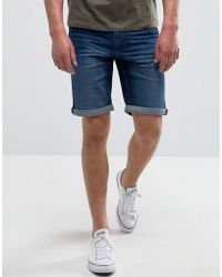Mango - Man Denim Shorts In Mid Wash Blue - Lyst