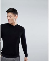 Mango - Man Weave Knit Crew Neck Jumper In Black - Lyst