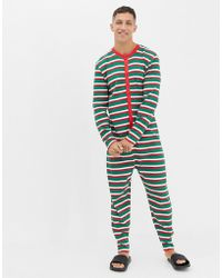 ASOS - Christmas Onesie In Festive Stripes - Lyst