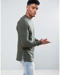 ASOS DESIGN - Asos Longline Muscle Fit Sweatshirt With Side Zip In Khaki - Lyst