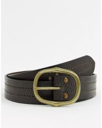 New Look - Leather Belt With Oval Buckle In Brown - Lyst