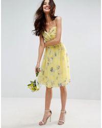 ASOS - Design Bridesmaid Ruched Mini Dress In Sunshine Floral Print - Lyst