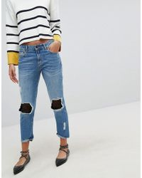 Stradivarius | Denim Jean With Mesh Patching | Lyst