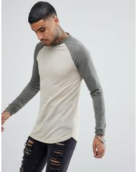 ASOS - Longline Long Sleeve T-shirt In Linen Look With Curve Hem In Beige - Lyst