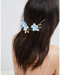 ASOS - Bridal Something Blue Floral Back Hair Crown - Lyst