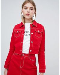 Urban Bliss - Cropped Denim Jacket With Raw Hem - Lyst