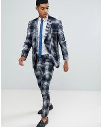 BoohooMAN - Geruite Skinny-fit Pantalon In Blauw - Lyst