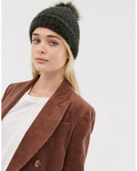 New Look - Fluffy Faux Fur Pom Pom Bobble Hat In Khaki - Lyst
