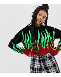 Collusion - Cropped Sweater With Flame - Lyst