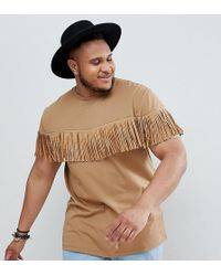 ASOS - Festival Plus Relaxed Longline T-shirt With Studded Fringing In Tan - Lyst